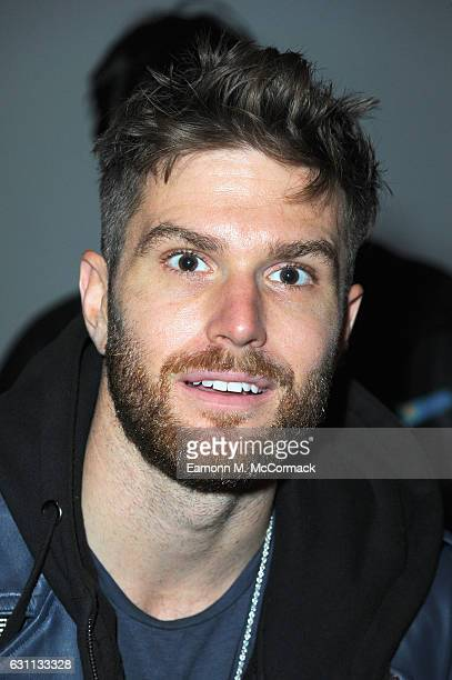 Joel Dommett attends the Matthew Miller show during London Fashion Week Men's January 2017 collections at BFC Show Space on January 7 2017 in London...