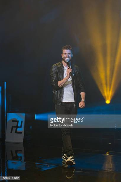 Joel Dommett performs on stage 'Pretending to Smoke With a Breadstick' during Pleasance Programme Launch for the Edinburgh Festival Fringe at...