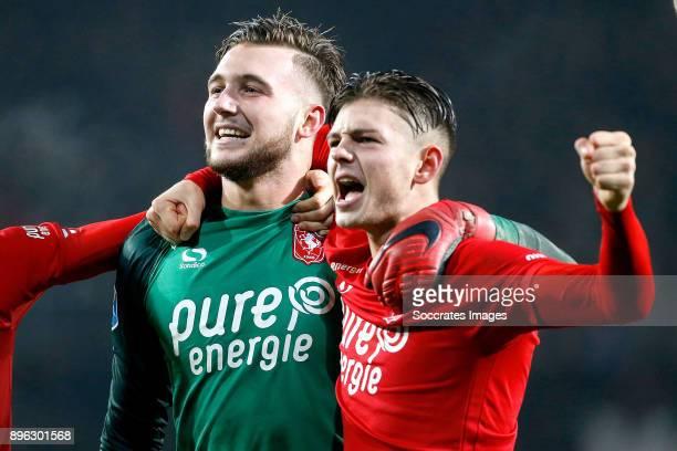 Joel Drommel of FC Twente Alexander Laukart of FC Twente celebrates the victory during the Dutch KNVB Beker match between Fc Twente v Ajax at the De...