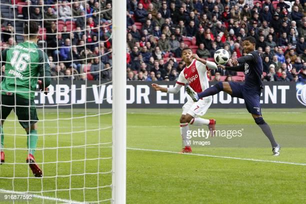 Joel Drommel of FC Twente David Neres of Ajax Michael Maria of FC Twente during the Dutch Eredivisie match between Ajax Amsterdam and FC Twente...