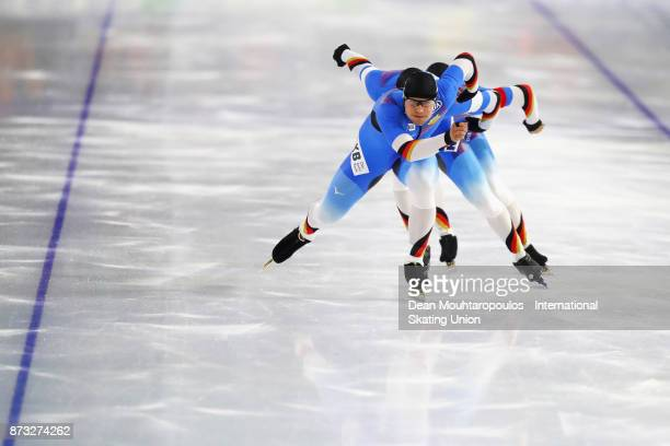 Joel Dufter Hubert Hirschbichler and Nico Ihle of Germany compete in the Men's Team Sprint event on day three during the ISU World Cup Speed Skating...