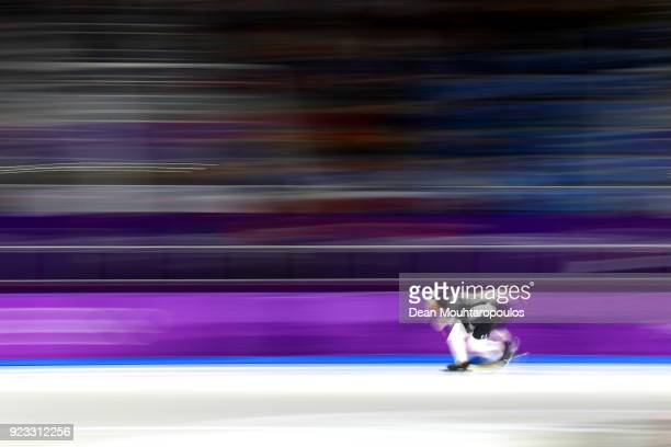 Joel Dufter of Germany and Joey Mantia of the United States compete during the Men's 1000m on day 14 of the PyeongChang 2018 Winter Olympic Games at...