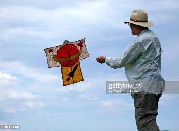 Joel Eckhaus flies a Japanese sode kite that will be part of an exhbit at Mayo Street arts in the summer The kite is made with bamboo and tissue and...