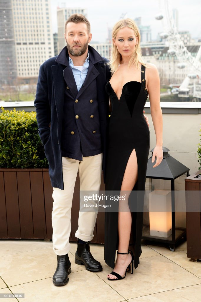 Joel Edgerton (L) and Jennifer Lawrence attend the 'Red Sparrow' photocall at The Corinthia Hotel on February 20, 2018 in London, England.