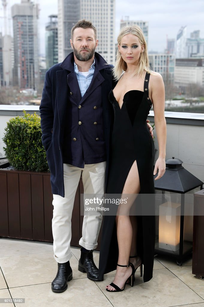 Joel Edgerton and Jennifer Lawrence during the 'Red Sparrow' photocall at The Corinthia Hotel on February 20, 2018 in London, England.