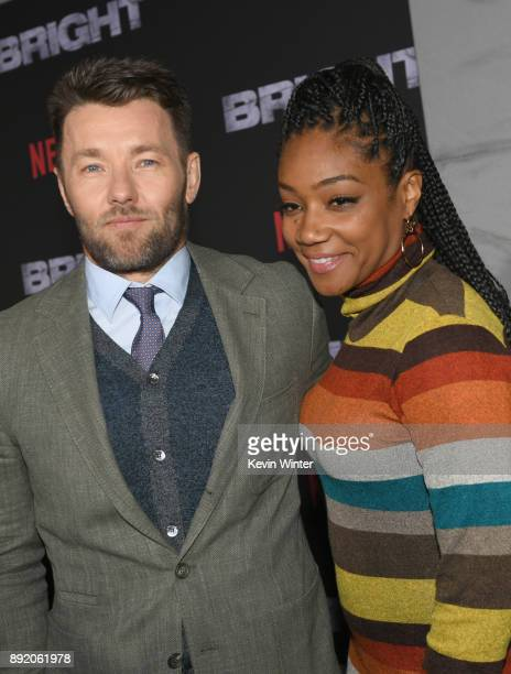 Joel Edgerton and Tiffany Haddish attend the Premiere Of Netflix's 'Bright' at Regency Village Theatre on December 13 2017 in Westwood California