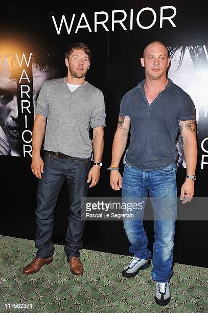 Joel Edgerton and Tom Hardy attend a photocall for 'Warrior' at Hotel Bristol on June 27 2011 in Paris France