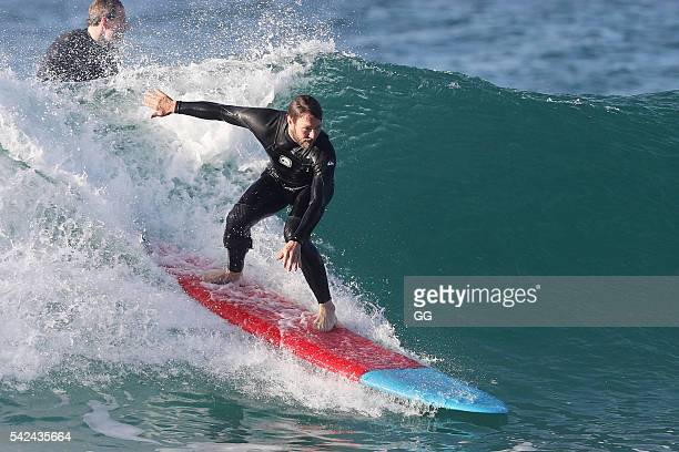 Joel Edgerton displays his surfing skills and braves the winter chill on June 22 2016 in Sydney Australia