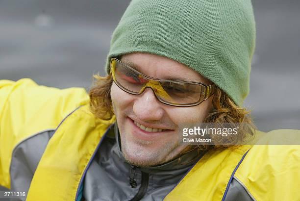 Joel Edgerton in good spirits during the kayak event during The Cadbury Schweppes Mark Webber Challenge on November 9, 2003 in Malaluka, Tasmania,...