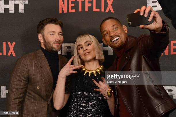 Joel Edgerton Noomi Rapace and Will Smith attend the European Premiere of 'Bright' held at BFI Southbank on December 15 2017 in London England