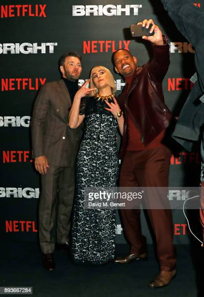 Joel Edgerton Noomi Rapace ands Will Smith attend the European Premeire of 'Bright' held at BFI Southbank on December 15 2017 in London England