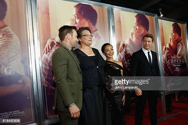 Joel Edgerton Peggy Loving Fortune Ruth Negga and Jeff Nichols attend Loving New York Premiere at Landmark Sunshine Theater on October 26 2016 in New...