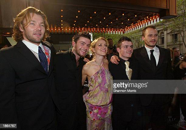 Joel Edgerton Philip Barantini Naomi Watts Laurence Kinlan and Heath Ledger attend the World Premiere of the film Ned Kelly March 22 2003 at the...