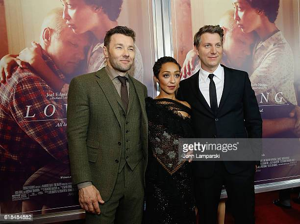 Joel Edgerton Ruth Negga and Director Jeff Nichols attend Loving New York Premiere at Landmark Sunshine Theater on October 26 2016 in New York City