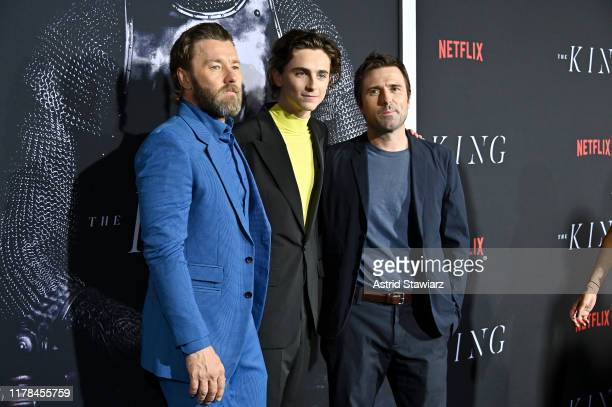 """Joel Edgerton , Timothée Chalamet and Director David Michod attends """"The King"""" New York Premiere at SVA Theater on October 01, 2019 in New York City."""