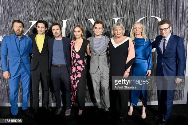 "Joel Edgerton, Timothee Chalamet, David Michod, Lily-Rose Deep, Dean-Charles Chapman, Liz Watts and Nicholas Britell attend ""The King"" New York..."