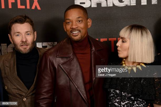 Joel Edgerton Will Smith and Noomi Rapace attend the European Premiere of 'Bright' held at BFI Southbank on December 15 2017 in London England