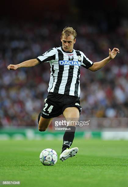 Joel Ekstrand of Udinese Calcio during the UEFA Champions League Play-off Round, 1st Leg match between Arsenal and Udinese at the Emirates Stadium in...