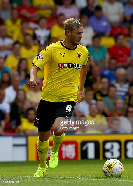 Joel Ekstrand of Watford during the Sky Bet Championship match between Watford and Bolton Wanderers at Vicarage Road on August 9, 2014 in Watford,...
