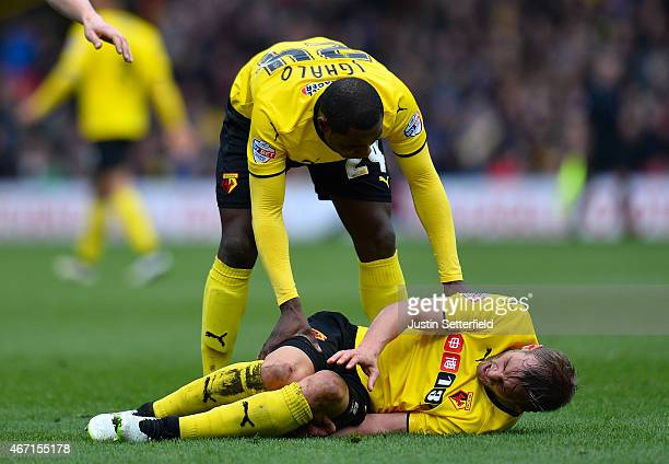 Joel Ekstrand of Watford goes down with a bad injury during the Sky Bet Championship match between Watford and Ipswich Town at Vicarage Road on March...