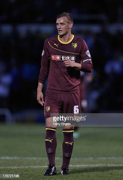 Joel Ekstrand of Watford in action during the Capital One Cup first round match between Bristol Rovers and Watford at the Memorial Stadium on August...