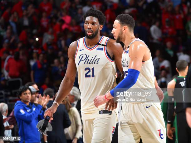 Joel Embiid and Ben Simmons of the Philadelphia 76ers talk during Game Four of the Eastern Conference Semifinals of the 2018 NBA Playoffs on May 5...