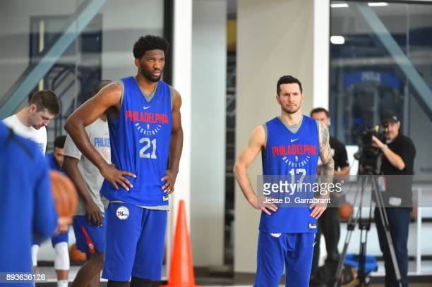 Joel Embiid and JJ Redick of the Philadelphia 76ers during practice at the Sixers Training Complex in Camden New Jersey on December 14 2017 NOTE TO...