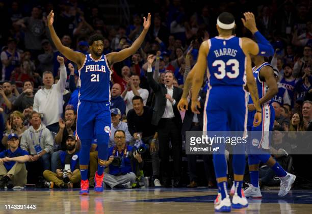 Joel Embiid and Tobias Harris of the Philadelphia 76ers react against the Brooklyn Nets in Game Two of Round One of the 2019 NBA Playoffs at the...