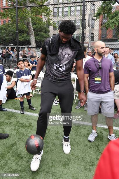 Joel Embiid attends the 2018 Steve Nash Showdown on June 20 2018 in New York City