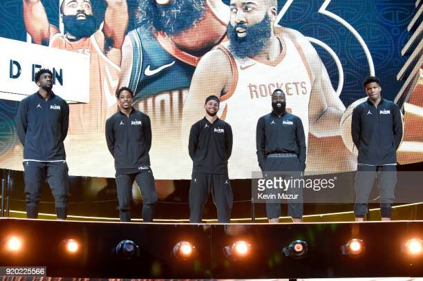 Joel Embiid DeMar Derozan Stephen Curry James Harden and Giannis Antetokounmpo of Team Stephen lineup at the 67th NBA AllStar Game Team LeBron Vs...