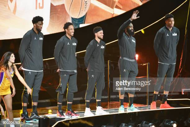 Joel Embiid DeMar Derozan Stephen Curry James Harden and Giannis Antetokounmpo attend the NBA AllStar Game 2018 at Staples Center on February 18 2018...