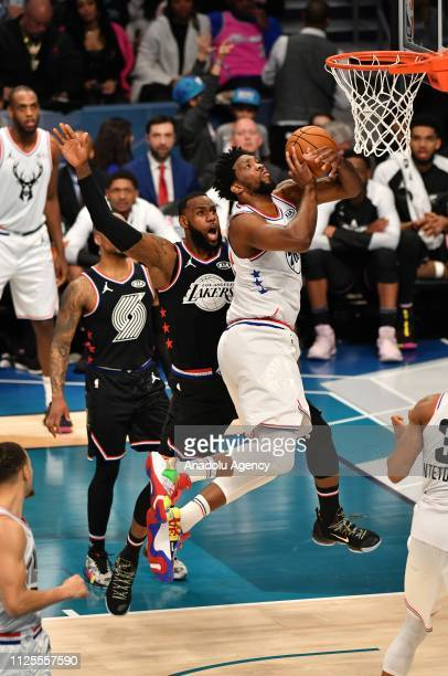 Joel Embiid jumps to score during the Team LeBron vs Team Giannis at the 68th NBA Allstar 2019 at Spectrum Arena in Charlotte NC United States on...