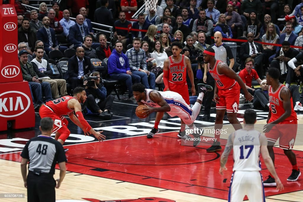 Joel Embiid (21) of Philadelphia 76ers in action during the NBA basketball match between Chicago Bulls and Philadelphia 76ers at the United Center in Chicago, Illinois, United States on February 22, 2018.