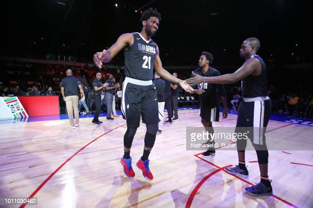 Joel Embiid of Team Africa is introduced before the game against Team World during the 2018 NBA Africa Game as part of the Basketball Without Borders...
