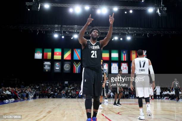Joel Embiid of Team Africa reacts during the game against Team World during the 2018 NBA Africa Game as part of the Basketball Without Borders Africa...