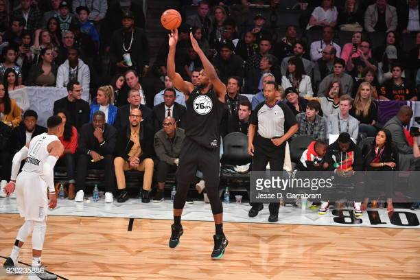 Joel Embiid of Team Curry shoots the ball against Team LeBron during the NBA AllStar Game as a part of 2018 NBA AllStar Weekend at STAPLES Center on...