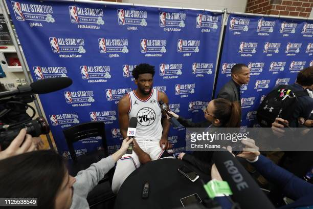 Joel Embiid of Team Giannis addresses the media after the 2019 NBA AllStar Game on February 17 2019 at the Spectrum Center in Charlotte North...