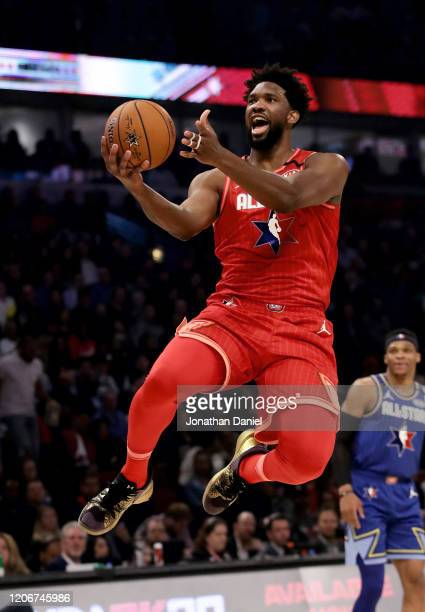 Joel Embiid of Team Giannis attempts a shot in the second quarter against Team LeBron during the 69th NBA All-Star Game at the United Center on...