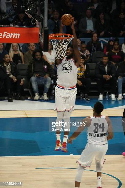 Joel Embiid of Team Giannis dunks during the 2019 NBA AllStar Game on February 17 2019 at the Spectrum Center in Charlotte North Carolina NOTE TO...