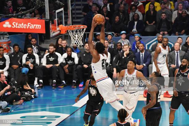 Joel Embiid of Team Giannis dunks the ball against Team LeBron during the 2019 NBA All Star Game on February 17 2019 at Spectrum Center in Charlotte...