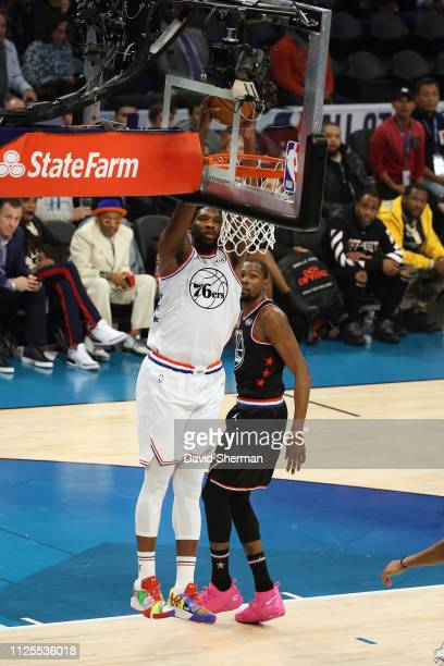 Joel Embiid of Team Giannis dunks the ball against Team LeBron during the 2019 NBA AllStar Game on February 17 2019 at the Spectrum Center in...