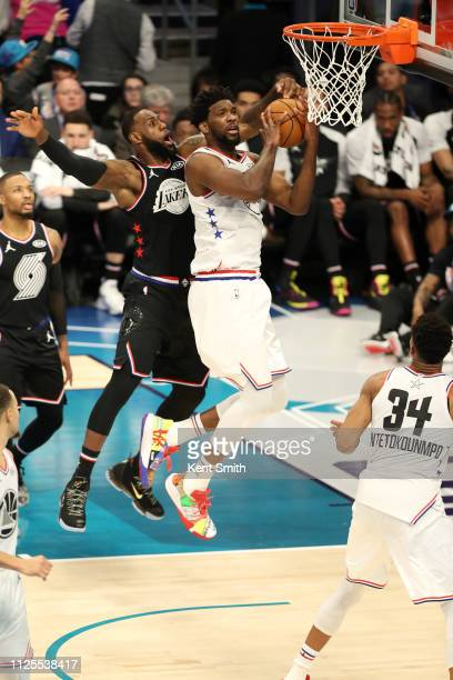 Joel Embiid of Team Giannis goes to the basket against Team LeBron during the 2019 NBA AllStar Game on February 17 2019 at the Spectrum Center in...
