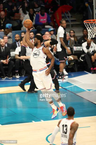 Joel Embiid of Team Giannis handles the ball against Team LeBron during the 2019 NBA AllStar Game on February 17 2019 at the Spectrum Center in...