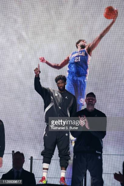 Joel Embiid of Team Giannis is introduced during the 2019 NBA AllStar Game on February 17 2019 at the Spectrum Center in Charlotte North Carolina...