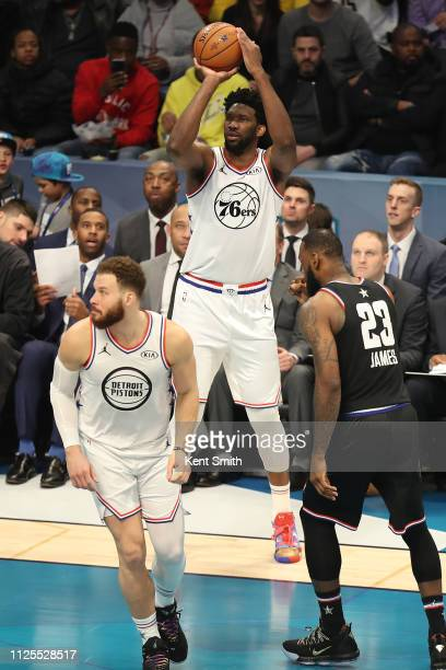 Joel Embiid of Team Giannis shoots a three point basket against Team LeBron during the 2019 NBA AllStar Game on February 17 2019 at the Spectrum...