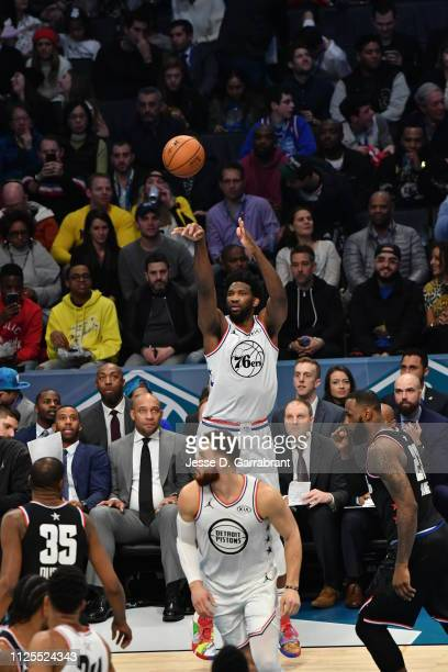 Joel Embiid of Team Giannis shoots the ball against Team LeBron during the 2019 NBA All Star Game on February 17 2019 at Spectrum Center in Charlotte...
