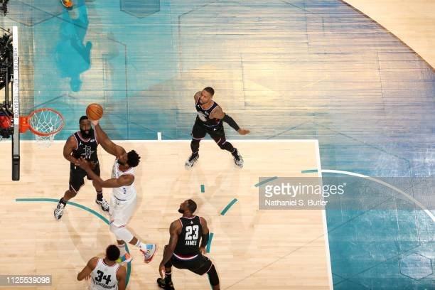 Joel Embiid of Team Giannis shoots the ball against Team LeBron during the 2019 NBA AllStar Game on February 17 2019 at the Spectrum Center in...