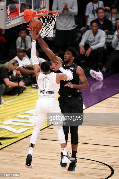 Joel Embiid of Team Stephen blocks the shot of Russell Westbrook of Team LeBron during the NBA AllStar Game as a part of 2018 NBA AllStar Weekend at...
