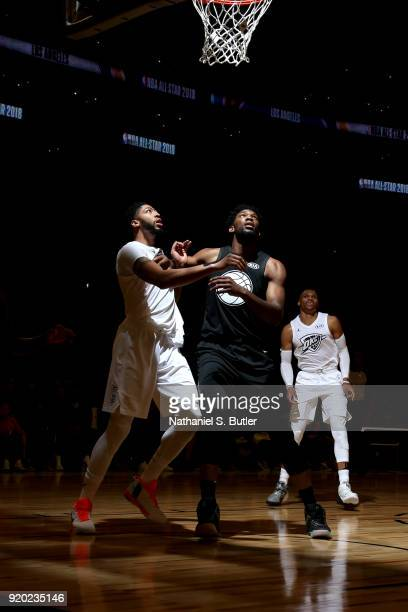 Joel Embiid of Team Stephen boxes out against Anthony Davis of Team LeBron during the NBA AllStar Game as a part of 2018 NBA AllStar Weekend at...