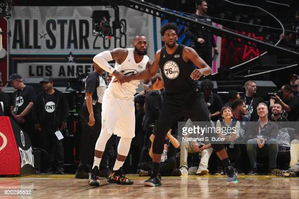 Joel Embiid of Team Stephen boxes out against LeBron James of Team LeBron during the NBA AllStar Game as a part of 2018 NBA AllStar Weekend at...